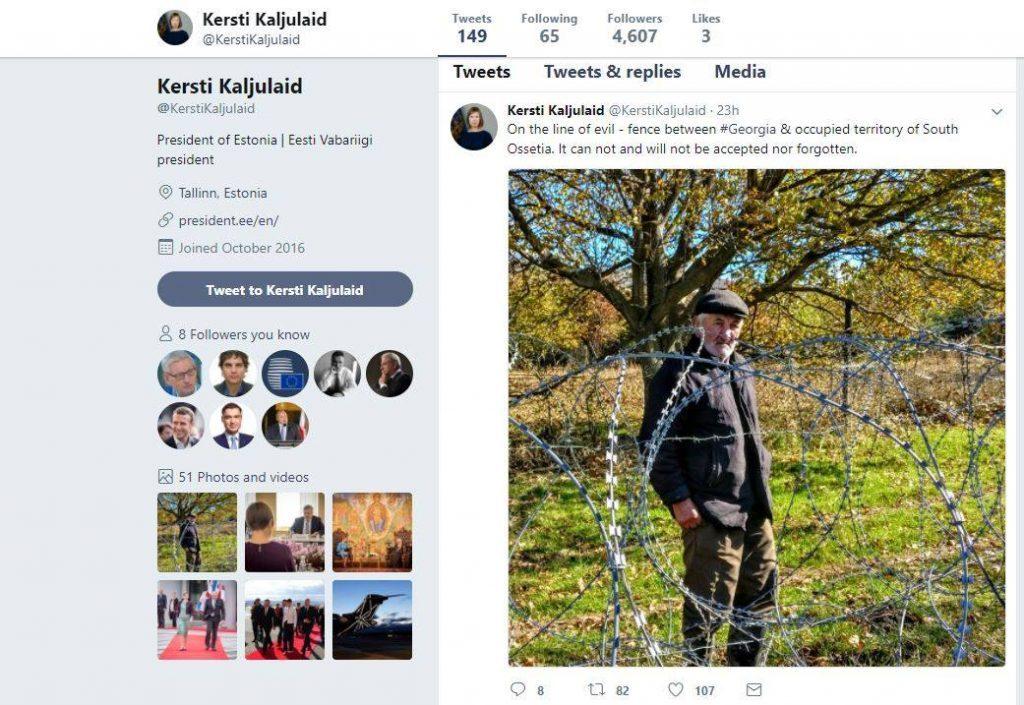 «Չարիքի Գիծ» - Էստոնիայի նախագահը սեփական տվիթերի էջում հրապարակել է Դաթա Վանիշվիլիի լուսանկարը