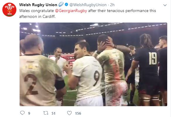 Wales congratulated Georgian Rugby players after their tenacious performance - video