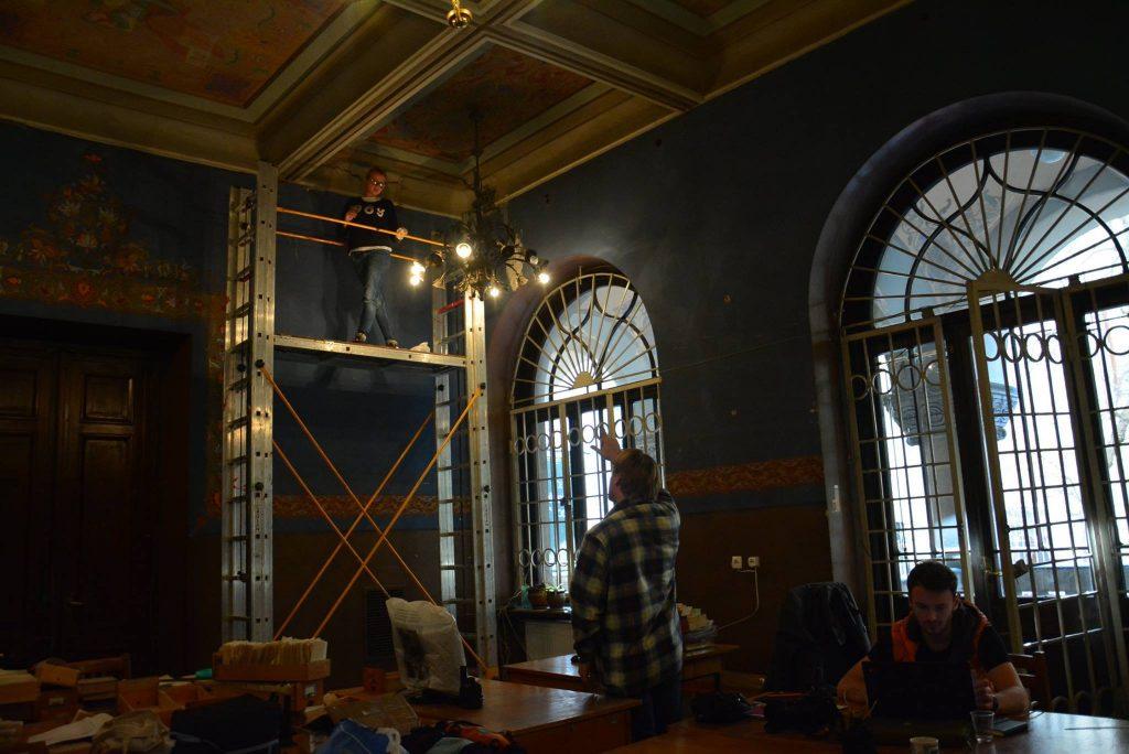 ეროვნულ ბიბლიოთეკაშიპოლონელი ხელოვანის მიერ მოხატული კედლის მხატვრობა აღდგება