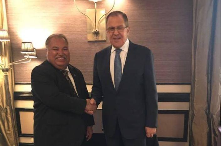 До поездки в оккупированную Абхазию, президент Науру встретился с министром иностранных дел России