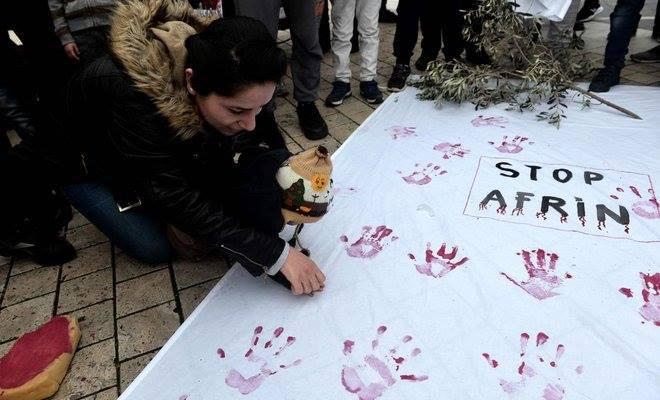 """საფრანგეთში მცხოვრებმა ქურთებმა თურქეთის სამხედრო ოპერაცია """"ზეთისხილის რტო"""" გააპროტესტეს"""