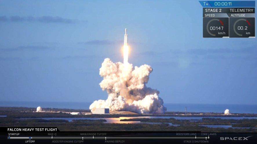 SpaceX-ის რაკეტა Falcon Heavy წარმატებით გაეშვა - ელონ მასკის ავტომობილი კოსმოსში გაემგზავრა