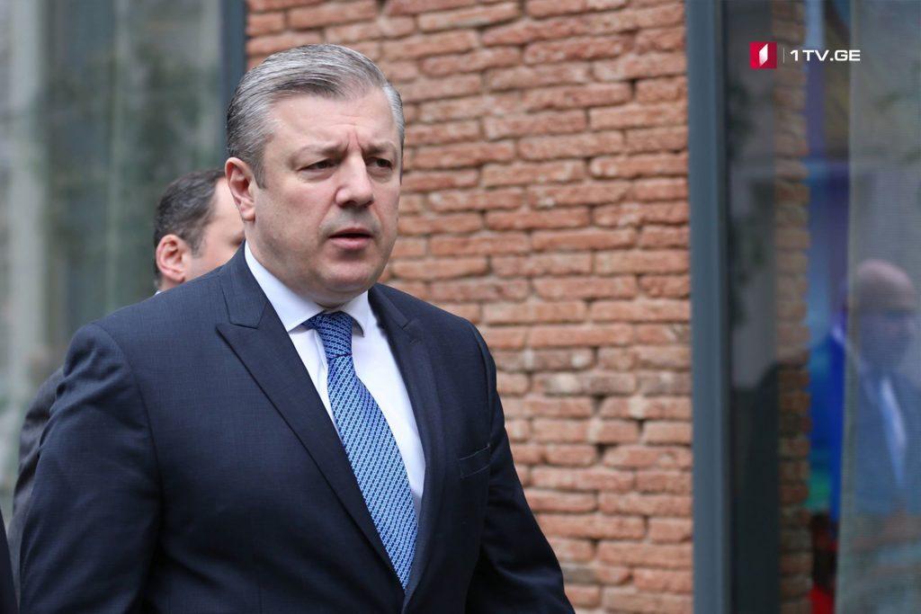 Премьер-министр Грузии Георгий Квирикашвили поздравляет Сержа Саргсяна с избранием на пост премьера Армении