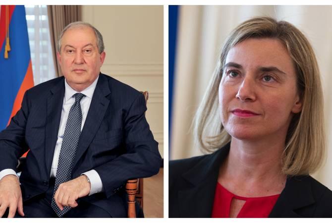 Հայաստանի նախագահը հեռախոսազրույց է ունեցել Ֆեդերիկա Մոգերինիի հետ