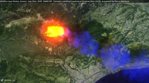 საბერძნეთის ტყის ხანძარმა ისეთ მასშტაბს მიაღწია, რომ კოსმოსიდანაცჩანს
