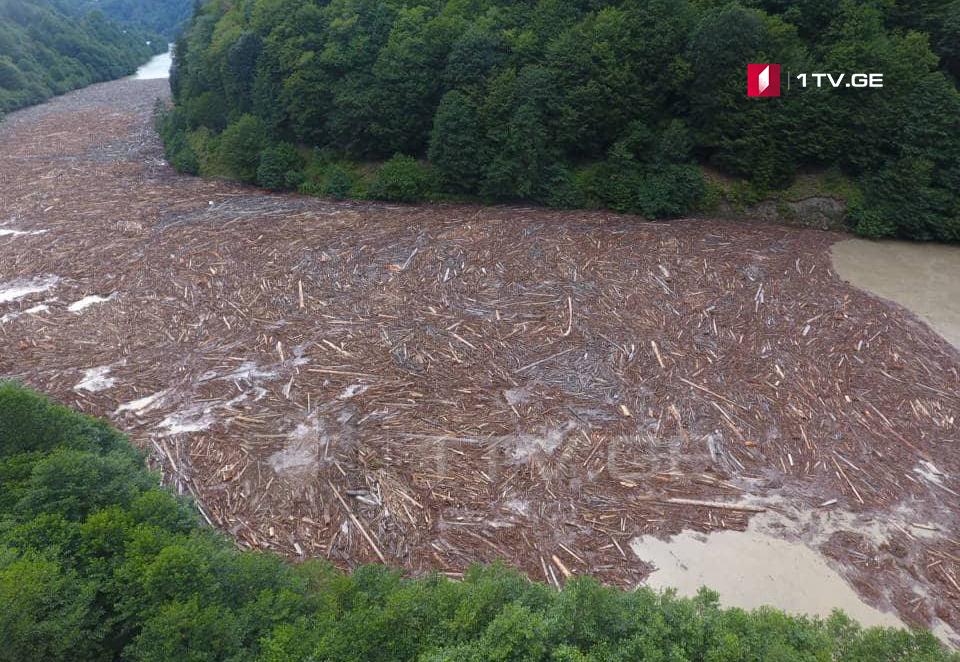 Как уносит река подготовленный для реализации древесный материал [фото]