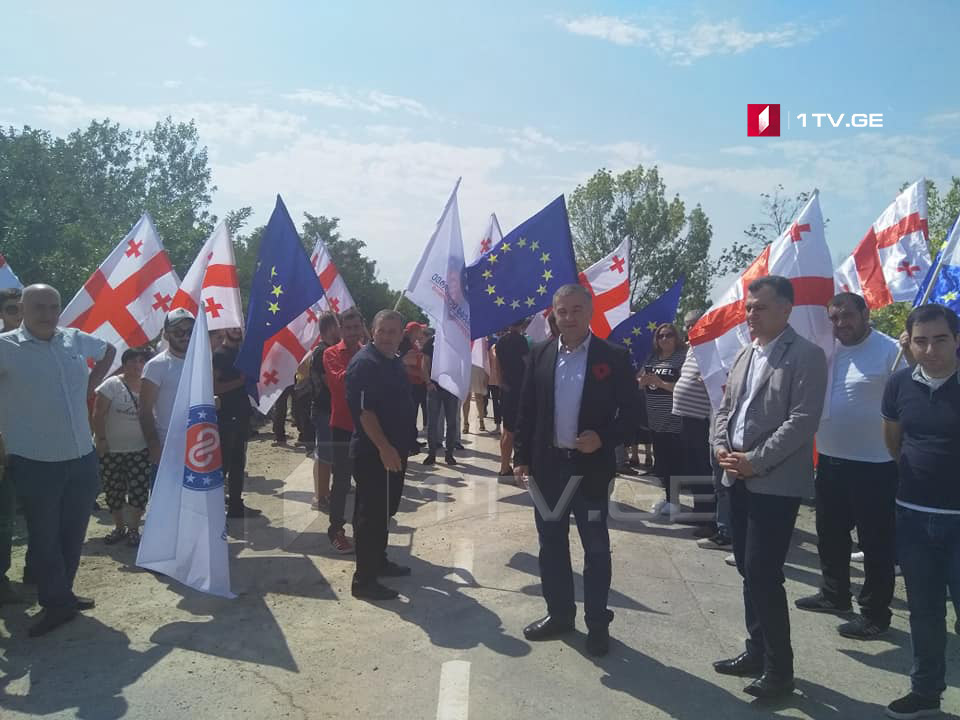 Members of European Georgia hold protest against Russian occupation