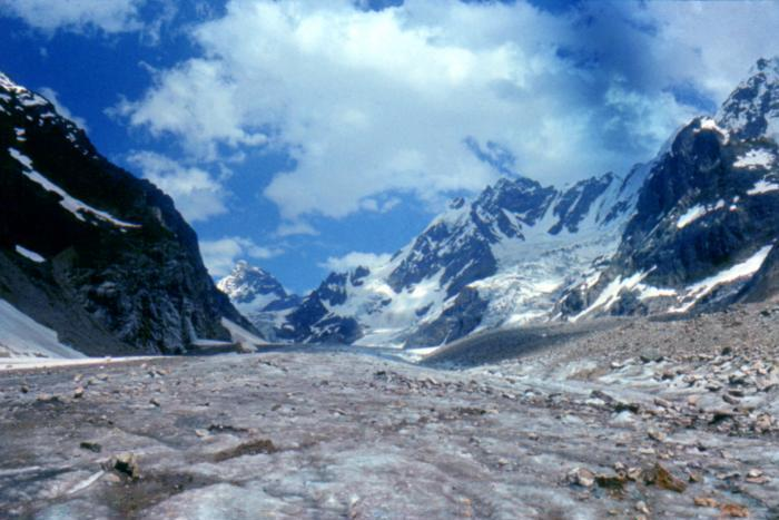 Chunk of glacier breaks off in Lekhziri area in Svaneti region