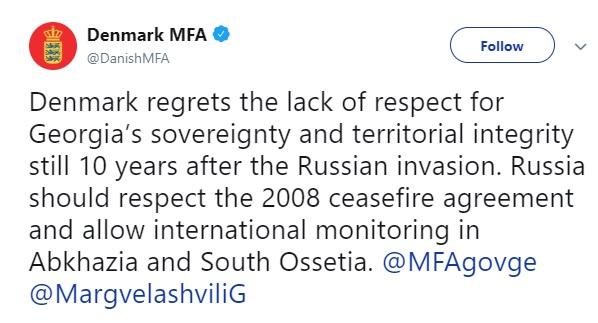 დანიის საგარეო უწყება - რუსეთმა პატივი უნდა სცეს 2008 წლის ცეცხლის შეწყვეტის შეთანხმებას