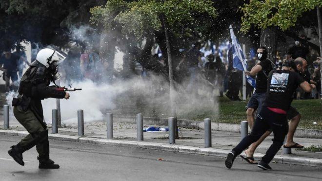 საბერძნეთში პოლიციასა და დემონსტრანტებს შორის შეტაკება მოხდა