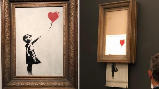 """ბენქსის ნახატი """"გოგონა ბუშტით"""", რომელიც აუქციონის დროს განადგურდა, 1,4 მილიონ დოლარად გაიყიდა"""
