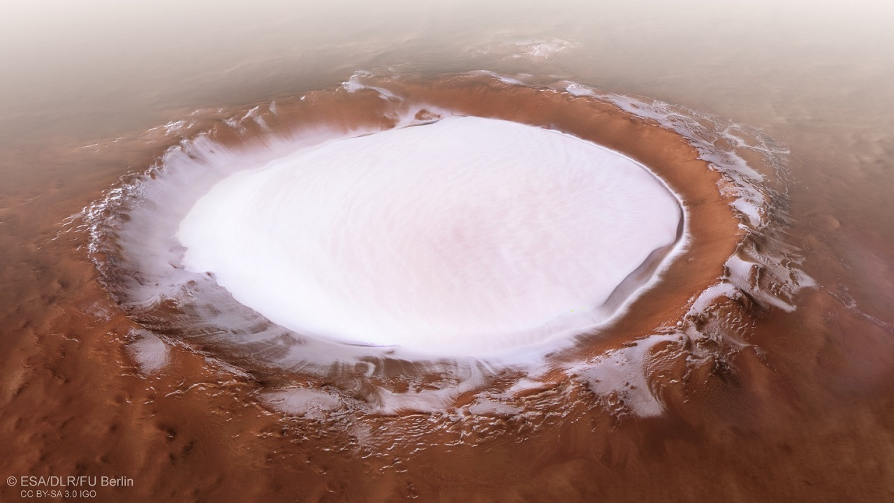 წყლის ყინულით სავსე გიგანტური კრატერი მარსზე - ESA-ს ხომალდმა ახალი ფოტოები გამოგზავნა