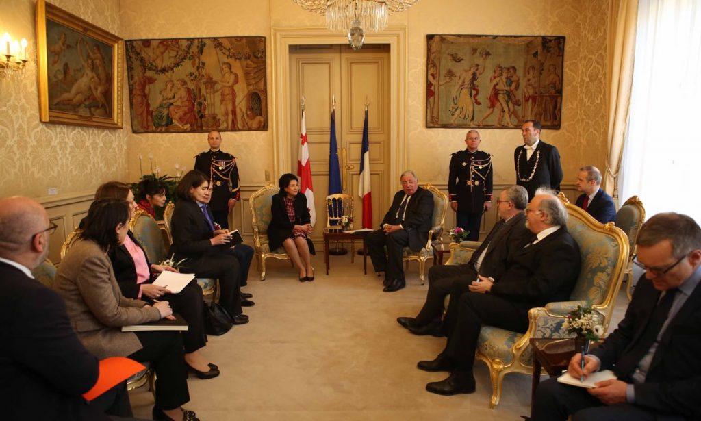 Президент Грузии Саломе Зурабишвили встретилась с председателем Сената Франции Жераром Ларше