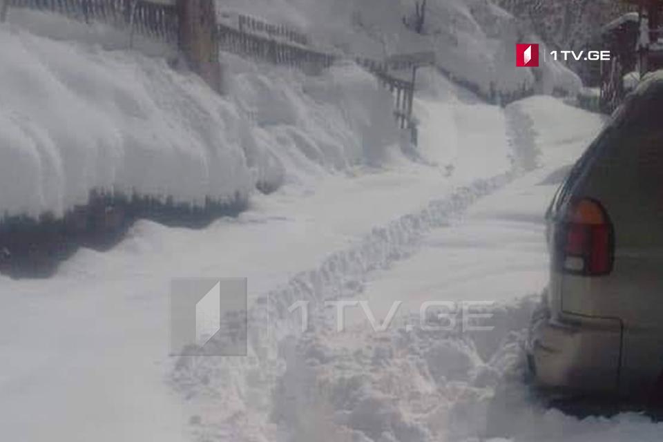 ხულოს მაღალმთიან სოფლებში თოვლის საფარმა ერთ მეტრს მიაღწია