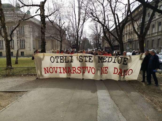 ხორვატიის დედაქალაქ ზაგრებში ჟურნალისტებმა მედიის თავისუფლების მოთხოვნით საპროტესტო აქცია გამართეს