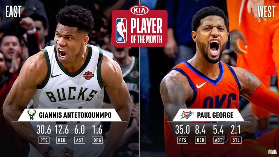 ჯორჯი და ანტენტოკუნმპო ეროვნული საკალათბურთო ასოციაციის (NBA) თვის მოთამაშეები არიან