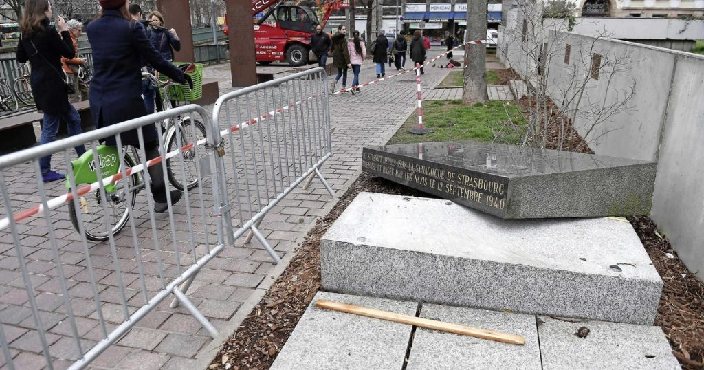 Memorial stone marking the site of Old Synagogue vandalised in Strasbourg