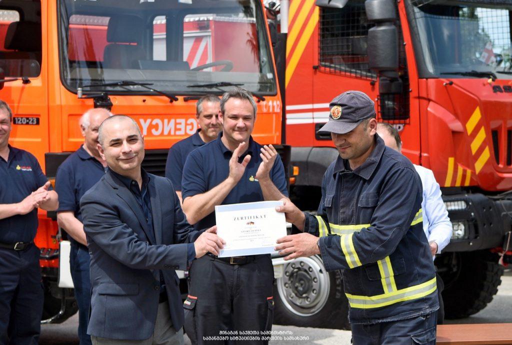 Немецкие инструкторы провели учения для пожарных-спасателей в Кахети