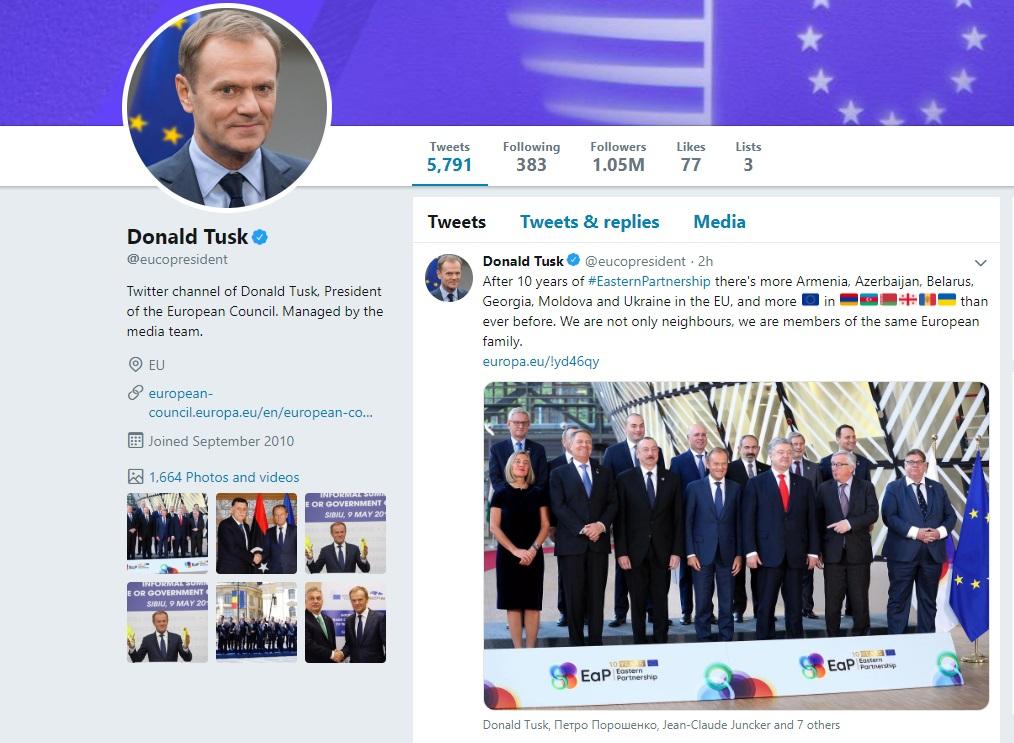Дональд Туск - Через 10 лет после начла «Восточного партнерства» в ЕС стало больше Грузии, Молдовы, Украины, Армении, Азербайджана и Беларуси