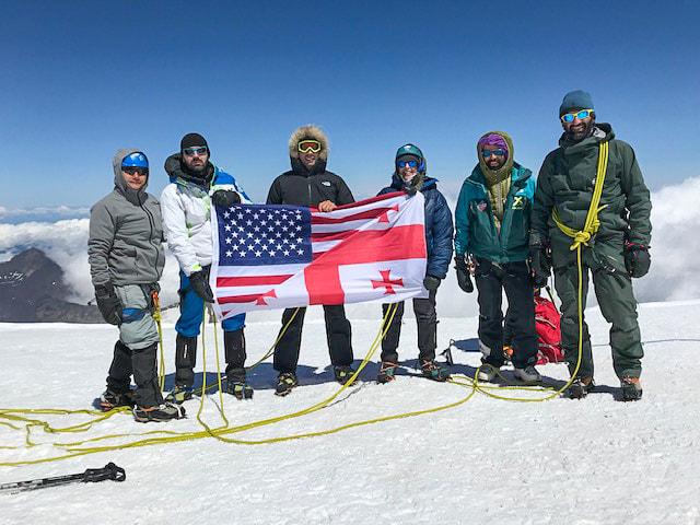 Elizabeth Rood reached the peak of Mount Kazbegi