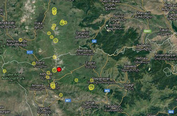 დაზუსტებული ინფორმაციით, მიწისძვრა სომხეთში, საქართველოს სახელმწიფო საზღვრიდან 11 კილომეტრში მოხდა