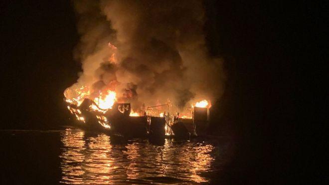 Քալիֆոռնիայի ափին նավն այրվելու հետևանքով զոհվել է 25 մարդ, ևս ինը համարվում է անհետ կորած