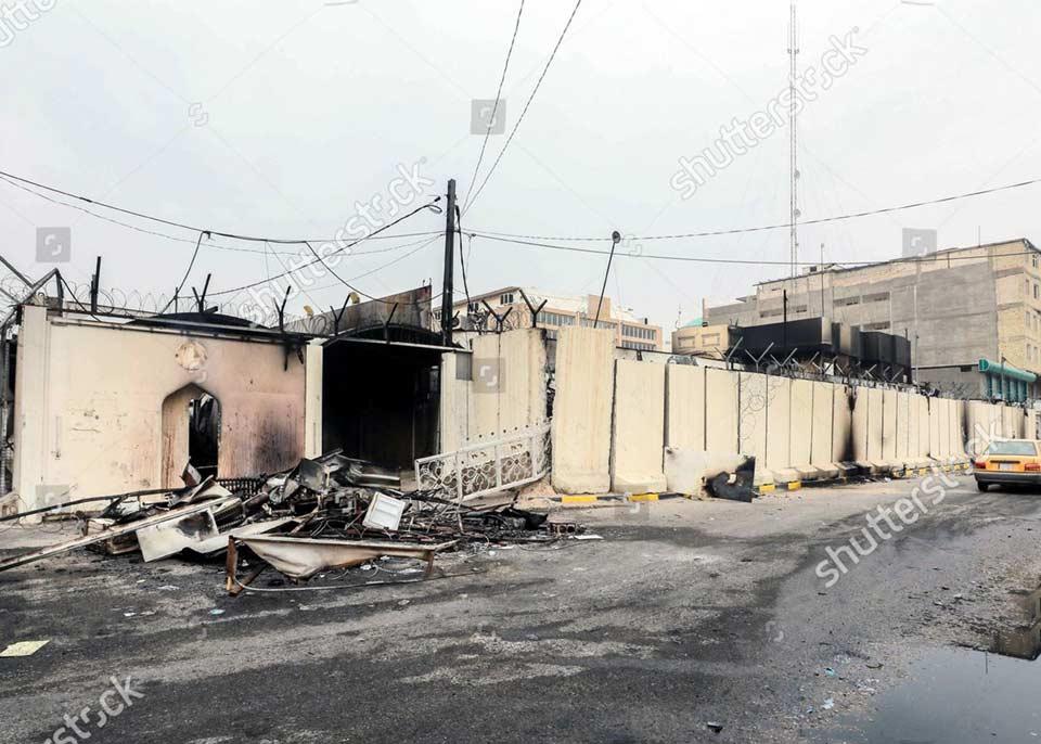 ნაჯაფის პროვინციაში დემონსტრანტებმა ირანის საკონსულოს ცეცხლი წაუკიდეს