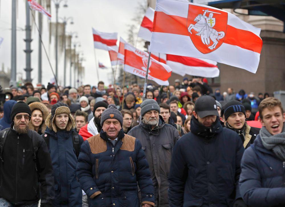 მინსკში, ბელარუსისა და რუსეთის ინტეგრაციის მოწინააღმდეგეთა აქცია გაიმართა