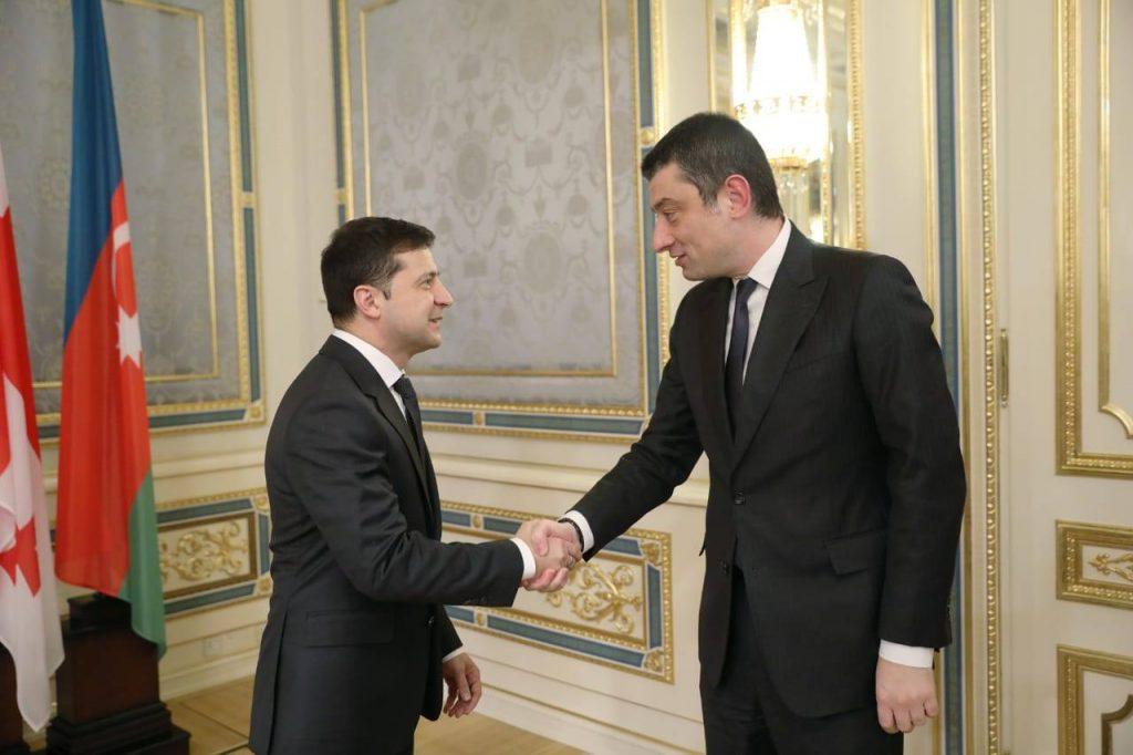 Георгий Гахария, вместе с главами правительств государств-членов ГУАМ, встретился с Владимиром Зеленским