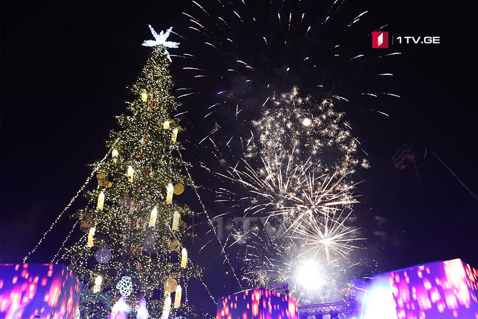 Main New Year Tree lit in Tbilisi (Photo)