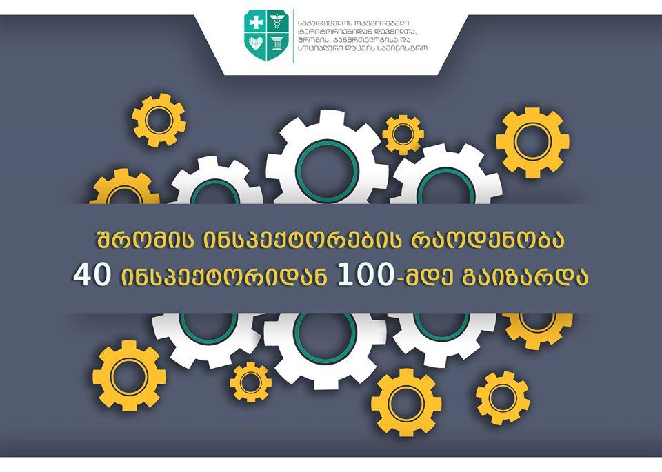 შრომის ინსპექტორთა რაოდენობა 40-დან 100-მდე გაიზარდა