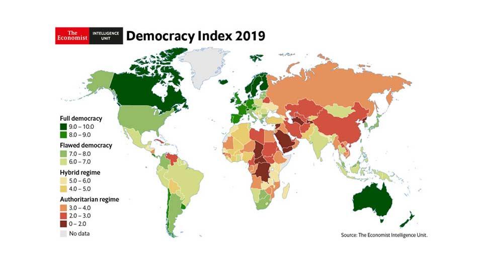 2019 წლის დემოკრატიის ინდექსის მიხედვით, საქართველო 89-ე ადგილზეა
