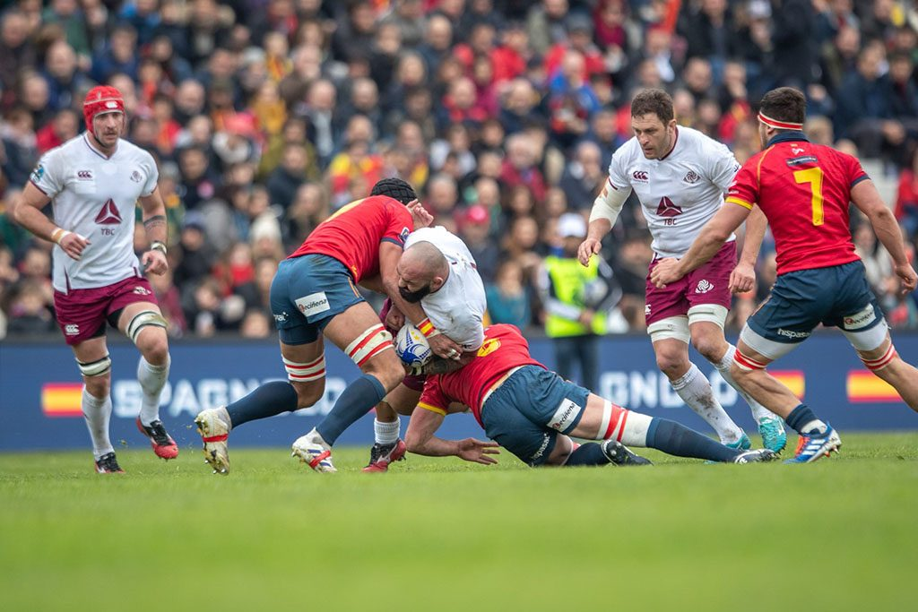 Georgia defeats Spain in Rugby with the score 23:10