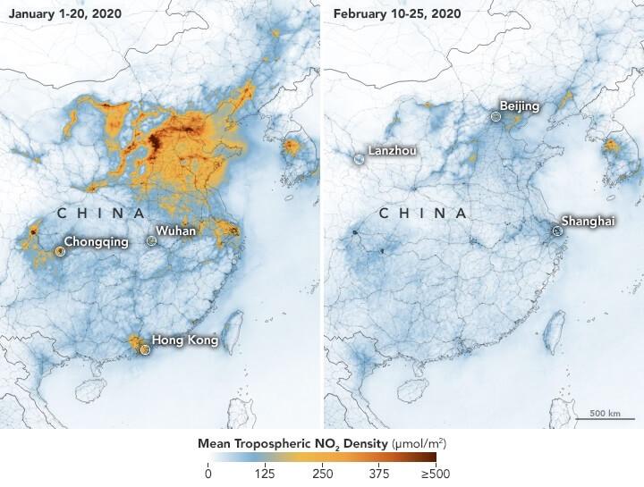 ჩინეთის თავზე ჰაერის დაბინძურების დონე საგრძნობლად შემცირდა — თანამგზავრული ფოტოები