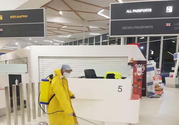 Kutaisi Aeroportunda dezinfeksiya işləri həyata keçirilir