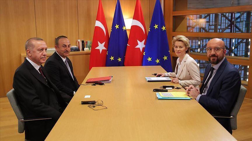თურქეთის პრეზიდენტმა ევროკავშირის ლიდერებთან შეხვედრაზე იდლიბის რეგიონში ვითარება და ლტოლვილების საკითხი განიხილა