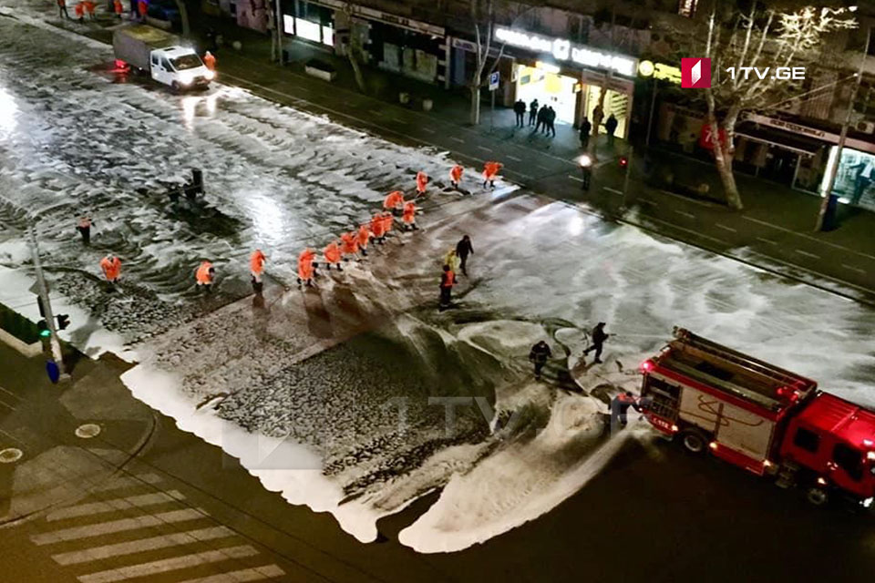 Streets washed by disinfection liquids in Tbilisi