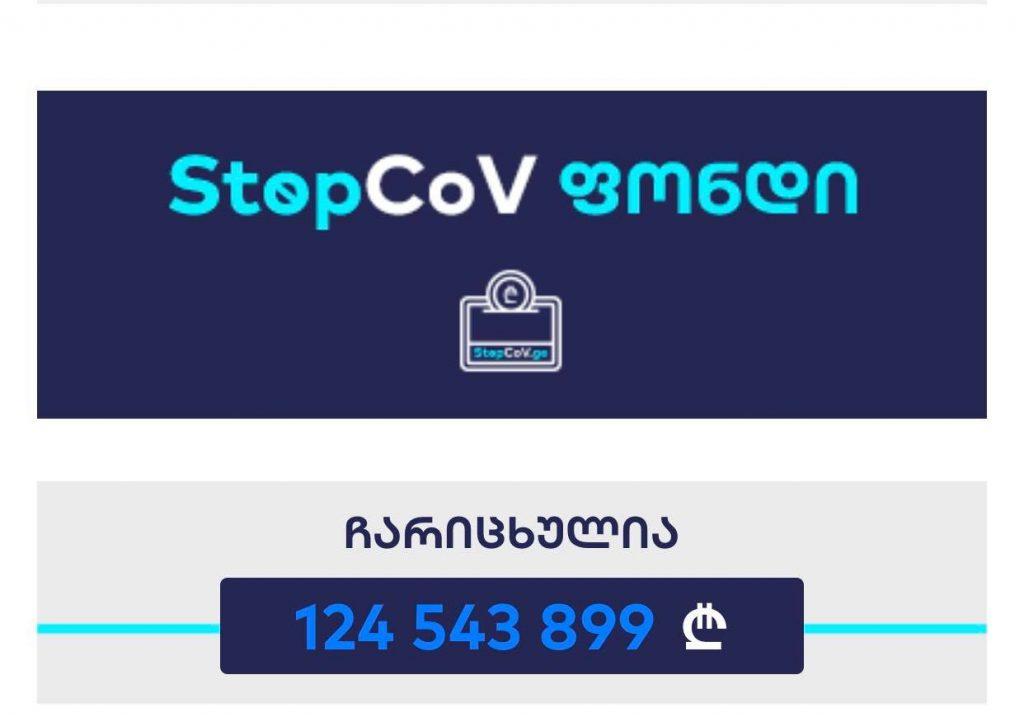StopCoV ფონდში ჩარიცხული თანხა 23 793 096 ლარიდან 124 543 899 ლარამდე გაიზარდა