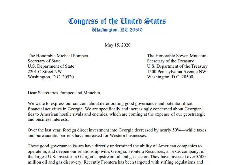 საქართველოში ამერიკულ ბიზნესთან დაკავშირებით ოთხი კონგრესმენი აშშ-ის სახელმწიფო და სახაზინო მდივნებს წერილით მიმართავს
