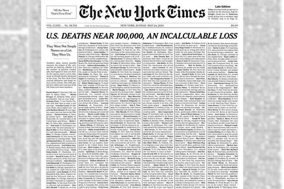 """""""ნიუ იორკ თაიმსმა"""" გამოცემის პირველი გვერდი """"კოვიდ-19""""-ით გარდაცვლილთა ხსოვნას მიუძღვნა"""