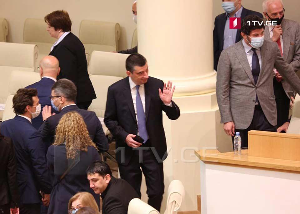 Георгий Гахария находится в парламенте вместе с членами Координационного совета