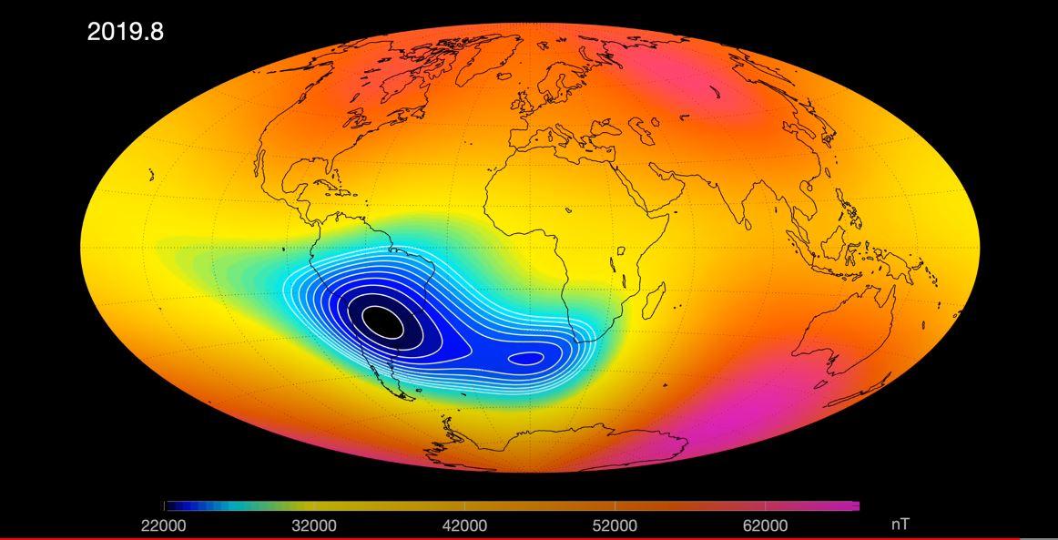 იდუმალი ანომალია, რომელიც დედამიწის მაგნიტურ ველს ასუსტებს, ორ ნაწილად იყოფა