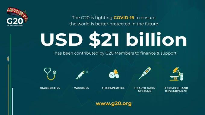 """""""დიდი ოცეულის"""" ქვეყნები კორონავირუსის წინააღმდეგ საბრძოლველად და ჯანდაცვის მხარდასაჭერად 21 მილიარდ დოლარზე მეტს გამოყოფენ"""