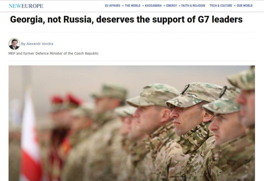 """ევროპარლამენტარი ალექსანდრ ვონდრა სტატიას აქვეყნებს - არა რუსეთი, არამედ საქართველო იმსახურებს """"დიდი შვიდეულის"""" ლიდერების მხარდაჭერას"""