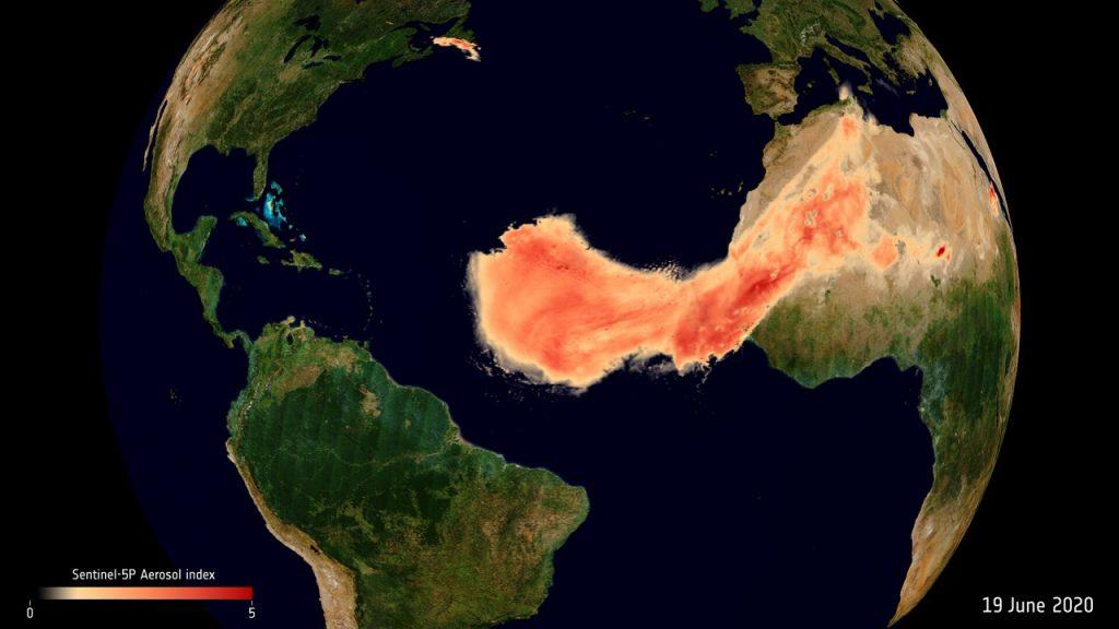 ატლანტის ოკეანის თავზე საჰარის უდაბნოდან წამოსული მტვრის რეკორდულად დიდი ნაკადი გადაიჭიმა — #1TVმეცნიერება