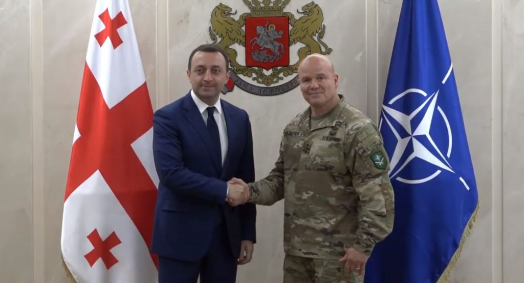 Ираклий Гарибашвили встретился с командующим Сухопутными войсками НАТО, генерал-лейтенантом Роджером Клутье