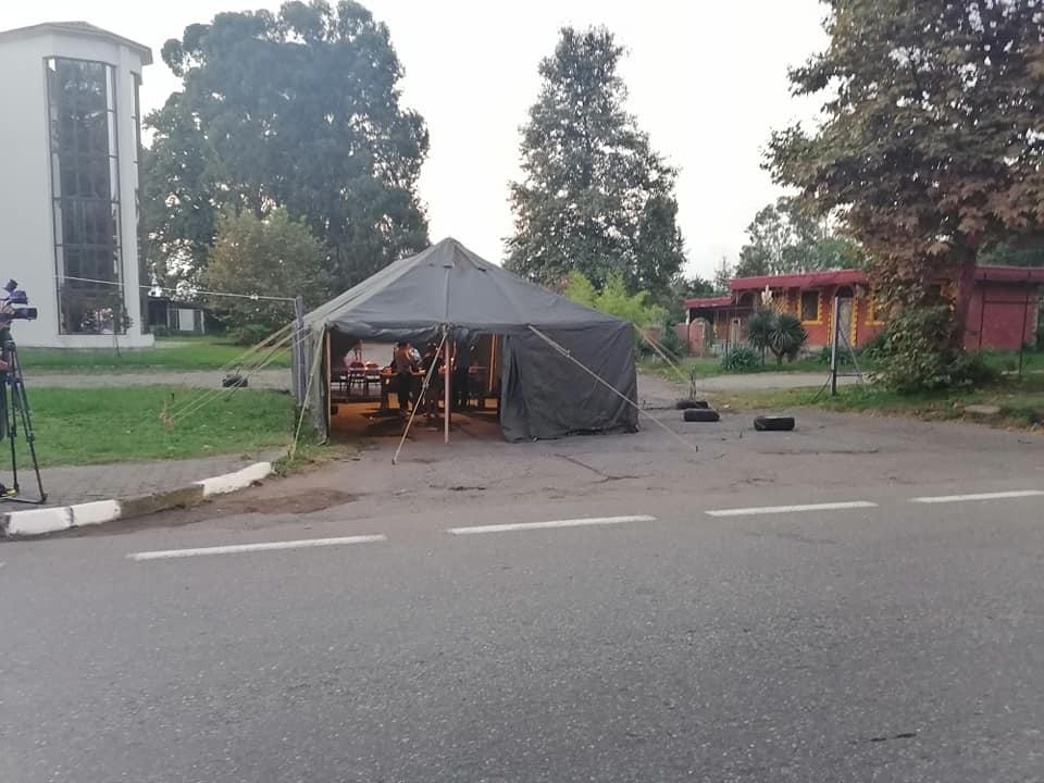 Temperature screening tent show upsat entrance to Batumi