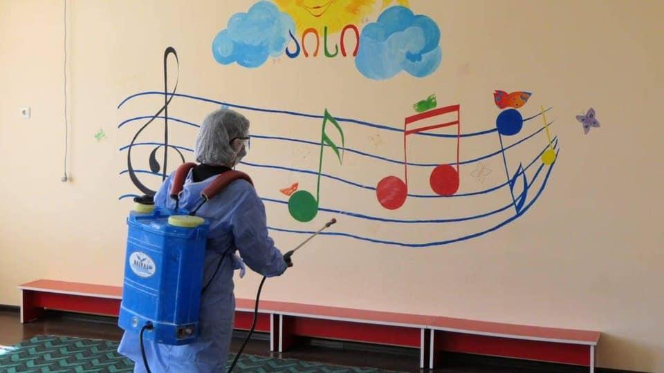 ფოთის მუნიციპალიტეტის საბავშვო ბაღებში სადეზინფექციო სამუშაოები ჩატარდა
