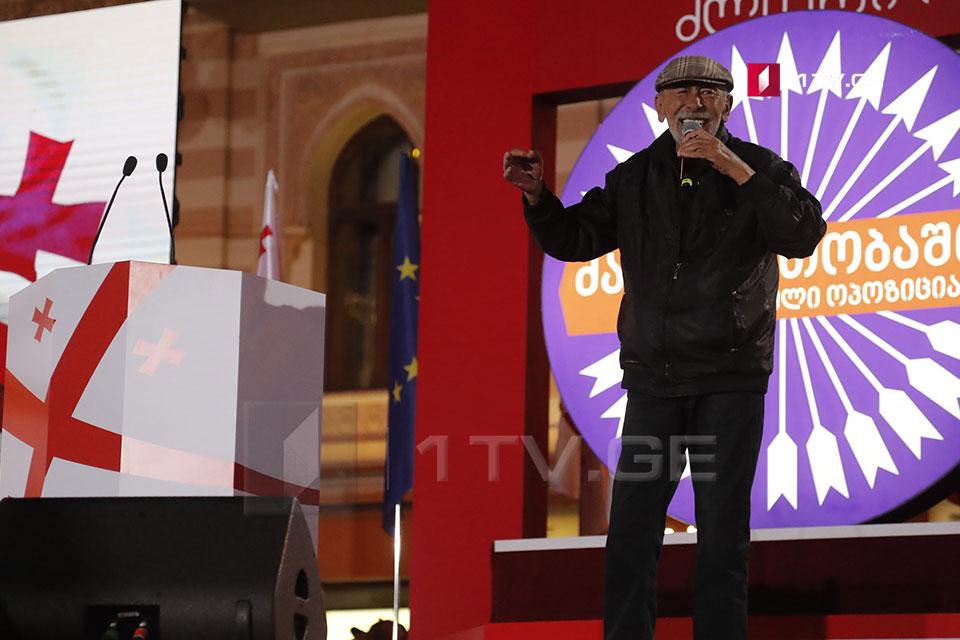 """Первый номер в списке «Национального движения» Буба Кикабидзе исполнил на мероприятии партии часть песни """"Тбилисо"""" на русском языке"""