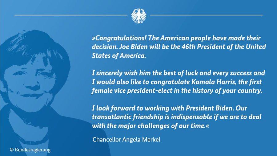 ანგელა მერკელი - ამერიკელმა ხალხმა საკუთარი არჩევანი გააკეთა, ველოდები პრეზიდენტ ბაიდენთან ერთად მუშაობას
